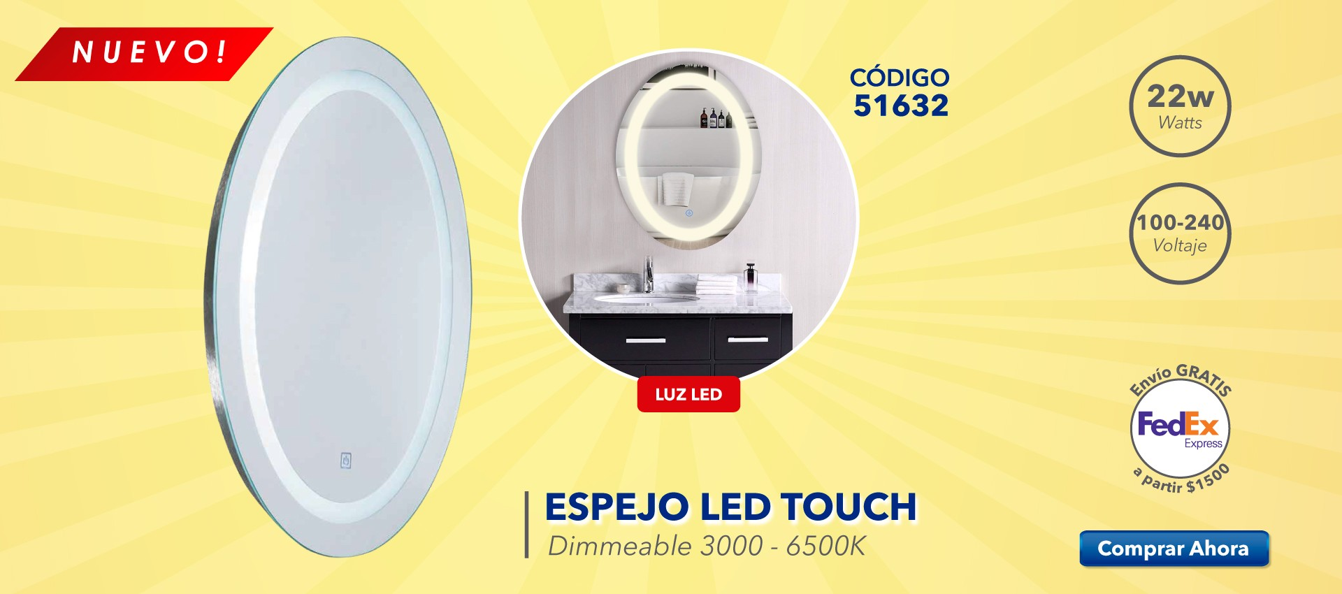 Espéjo LED Touch